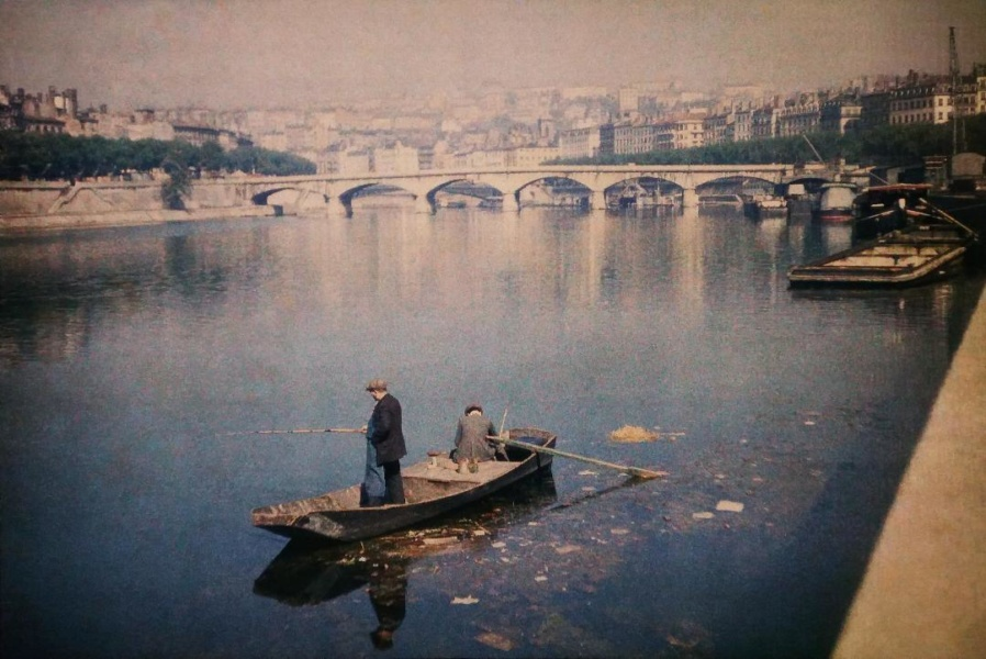 Autochrome Lumiere 1935 Lyon Pont du Change quai de Saone © Collection Institut Lumiere