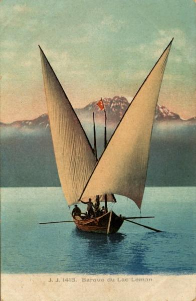 Barque voile latine sur le Léman © Coll Dürenmatt Promofluvia, BMLyon