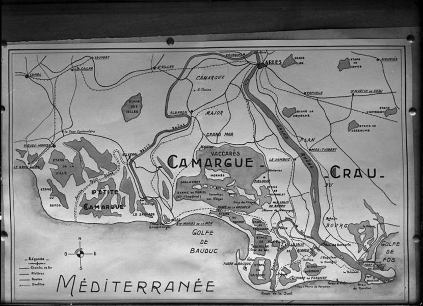 Carte de Carle Naudot © Coll Musée de la Camargue