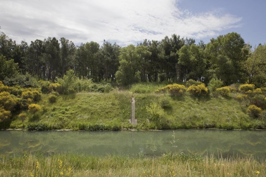 Échelle de crue et contre-canal vers Vallabrègues ©David Desalheux