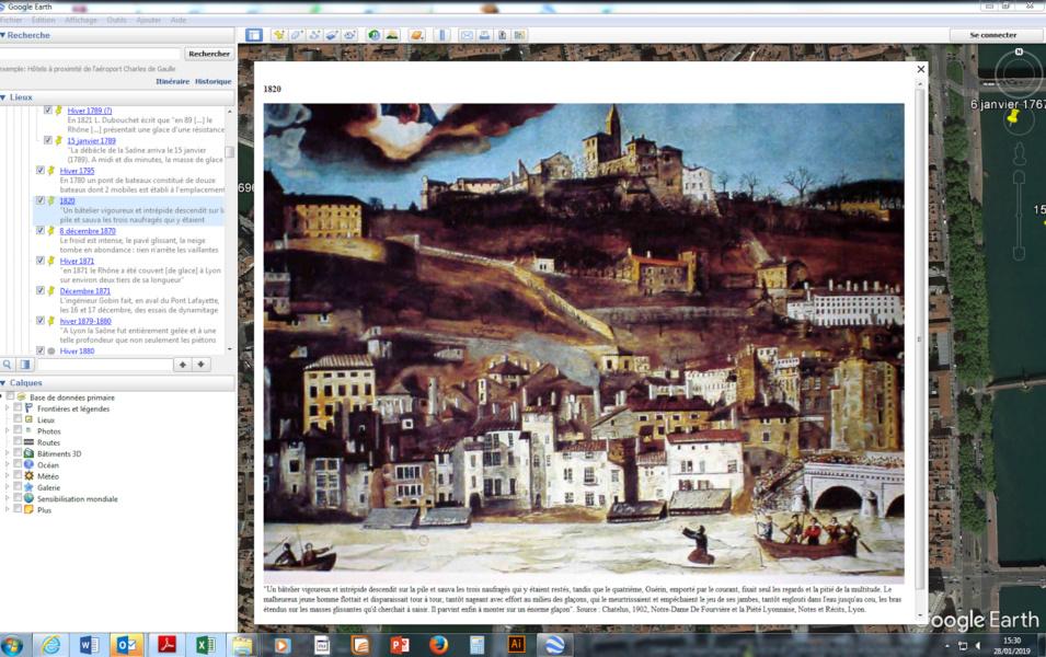 Géo Clim gravure inondation Saône © Service Archéologique Ville de Lyon