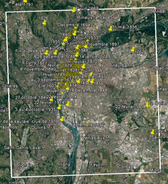Géo Clim localisations Google earth Événements climatiques © Service Archéologique Ville de Lyon