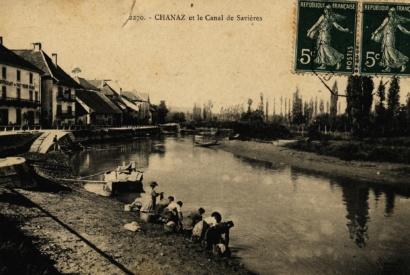 Lavandières sur le canal de Savières © Coll Dürenmatt, Promofluvia- BMLyon