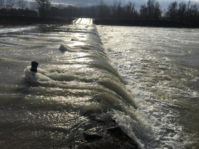 Le gué sous les eaux en janvier 2018 au Grand Parc Miribel Jonage© GPMJ