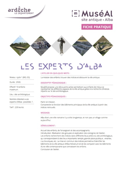 LES EXPERTS D ALBA cycle 1 © MuséAl