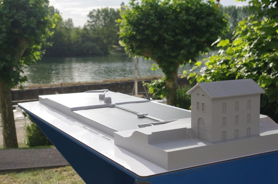 Maquette de la Maison éclusiere face à la Saône ©Créafactory/CHmaquettiste