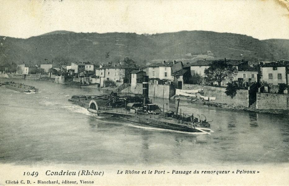 Passage remorqueur Condrieu Rhône © Coll Rondeau, Promofluvia - BM Lyon