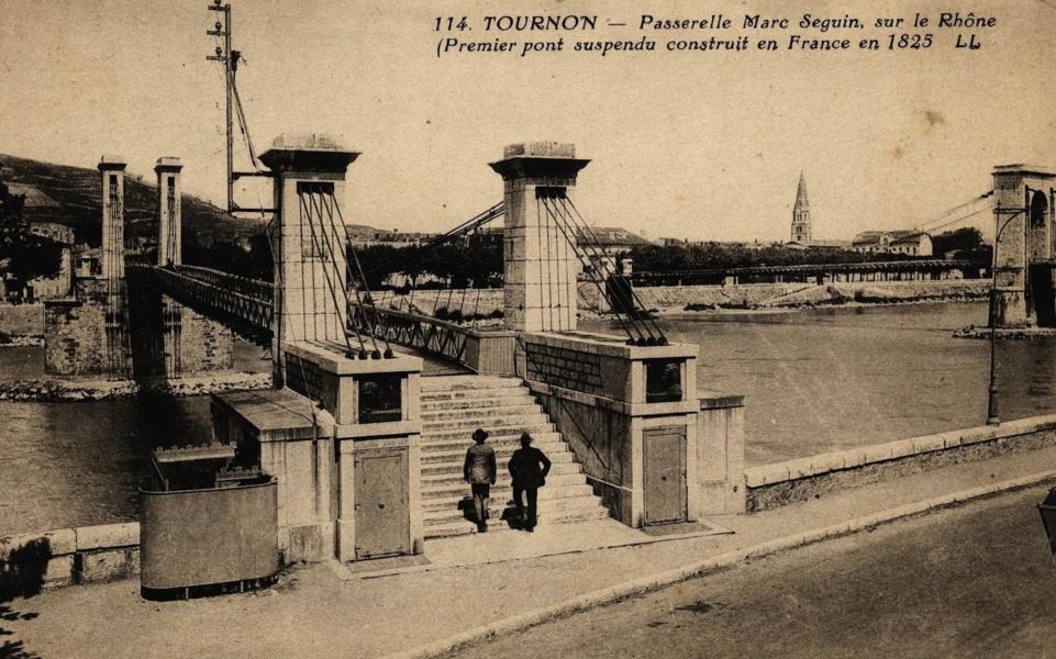 Premier pont suspendu à Tain Tournon © Coll Dürenmatt, Promofluvia- BM Lyon