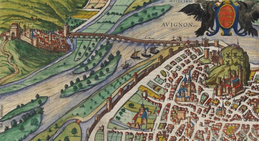 Vue aérienne Avignon © Archives Palais des Papes Fabrice Lepeltier, L'œil et la mémoire