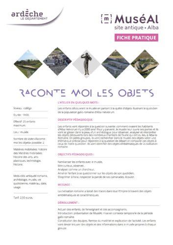 RACONTE MOI LES OBJETS collège © MuséAl
